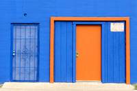 Blue building with orange trim