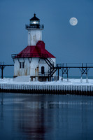 St. Joseph North Pier Lighthouse (with Moon)