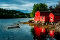 Red building and dinghy