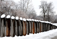 Snowy wooden posts