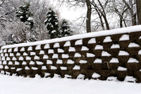 Snowy brick wall