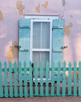 Green fence and shutters